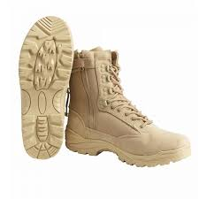 KHAKI TACTICAL BOOTS WITH YKK ZIPPER